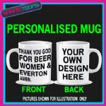 LOVE FOOTBALL BEER WOMEN & EVERTON  MUG PERSONALISED DESIGN